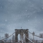 Brooklyn Bridge in falling snow